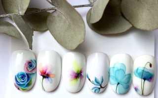 Акварельная роспись ногтей — 4 техники нанесения