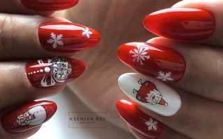 Новогодний маникюр в красном цвете