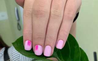 Нежно-розовый маникюр на короткие ногти