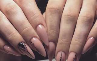 Маникюр на короткие ногти в бежевых тонах