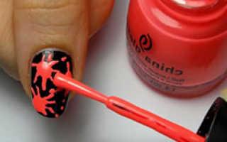 Дизайн ногтей кляксы — как делать на ногтях кляксы, фото