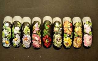 Жостовская роспись на ногтях — оригинальный нейл-дизайн