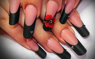 Черный френч на ногтях: 50 фото красивого френча черного цвета