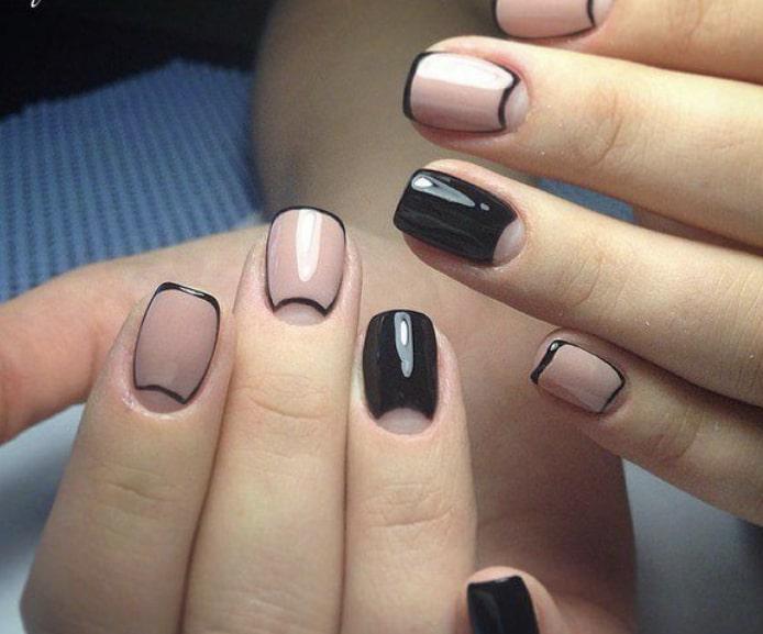 Дизайн «Рамка» на коротких ногтях