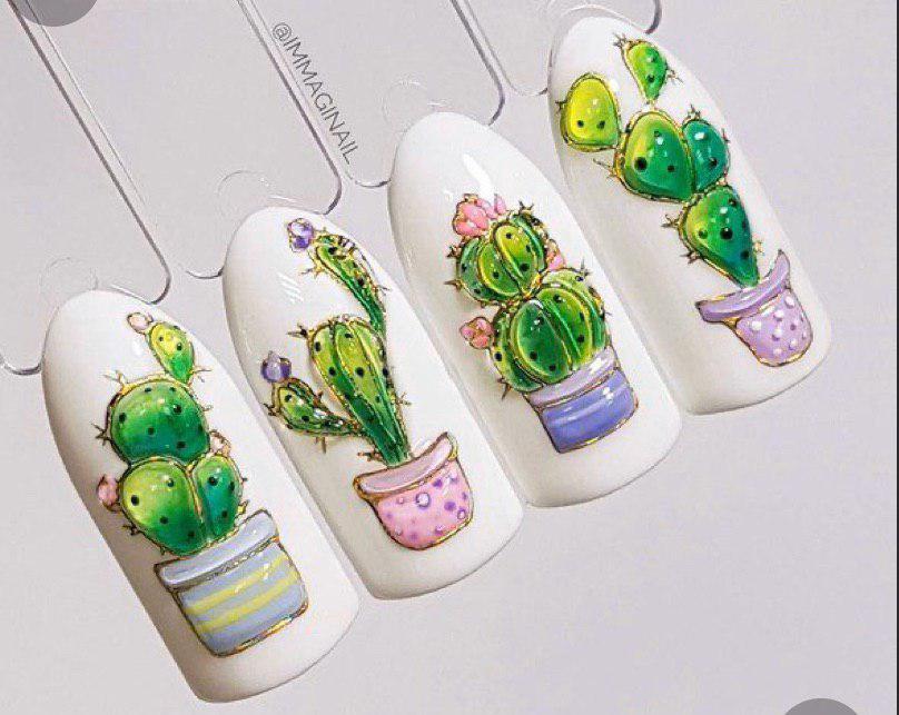 Маникюр с 3д дизайном кактусами