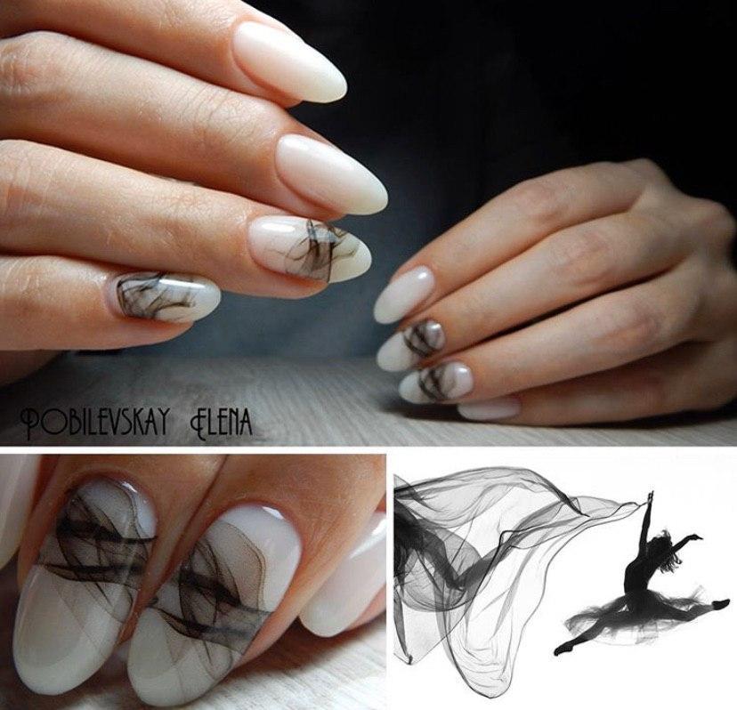 Маникюр с дизайном дымка на ногтях овальной формы