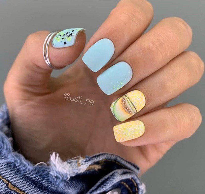 голубой с желтым и дизайном дыня