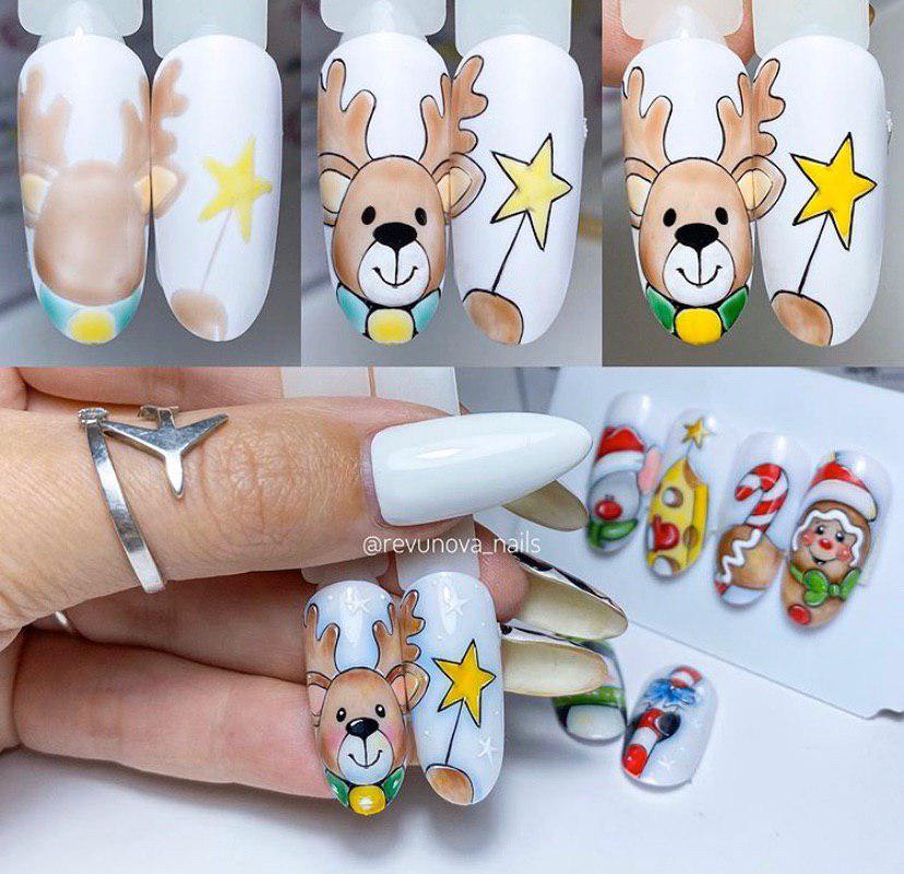 Олень на ногтях рисунок пошагово дизайн ногтей на новый год
