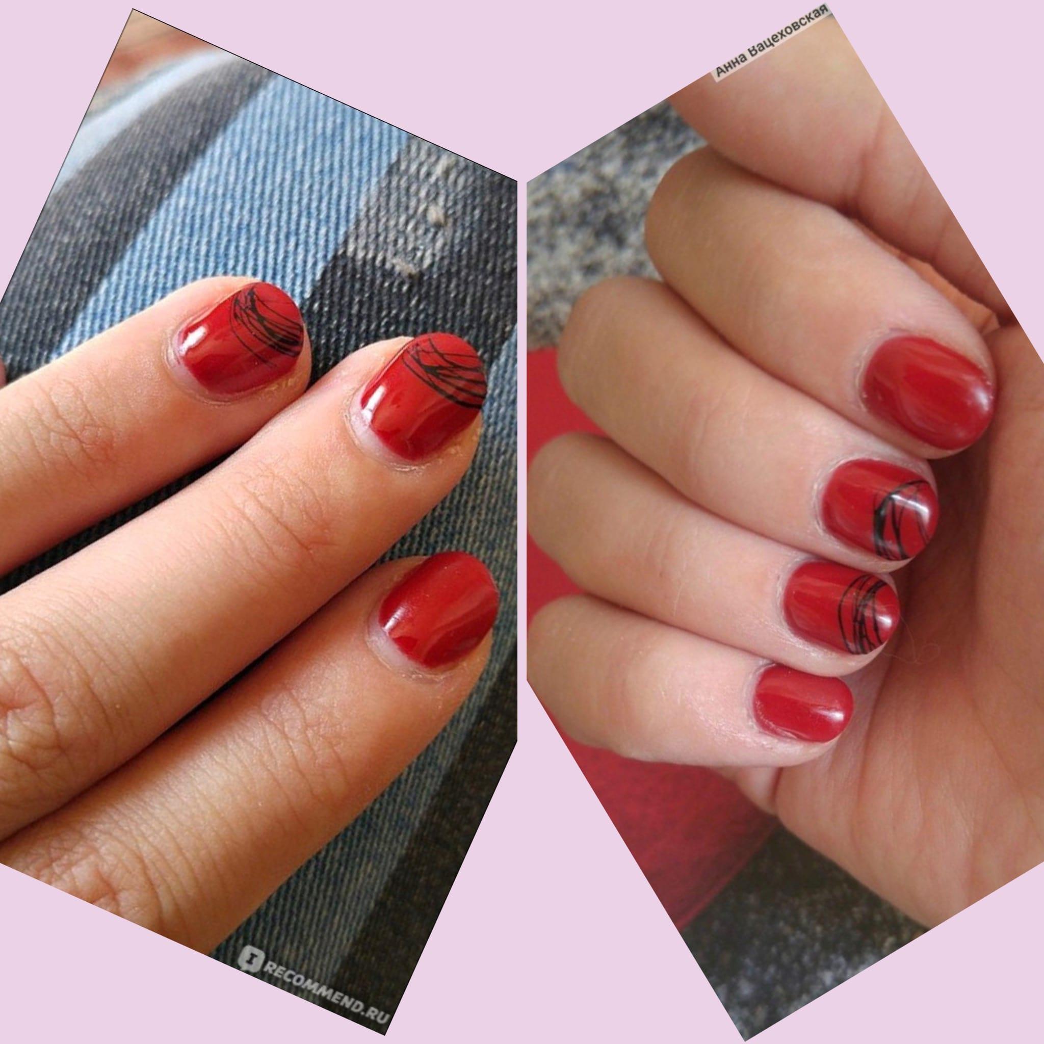 Пример носки ногтей сразу после маникюра и спустя 2 недели