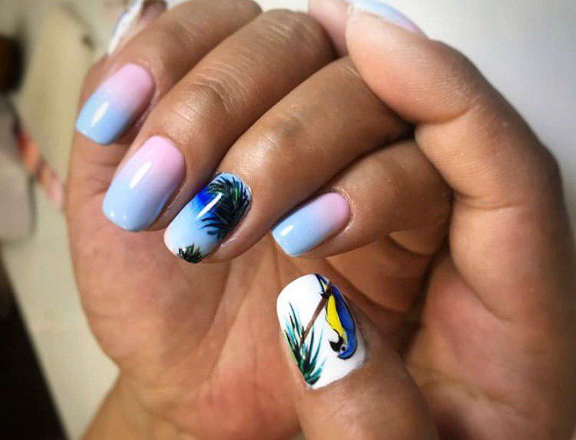 Шикарный дизайн ногтей с попугайчиком