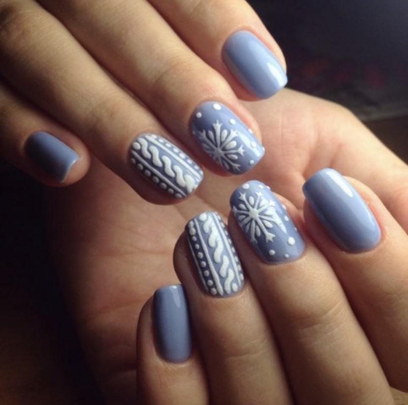 Тематический зимний дизайн ногтей