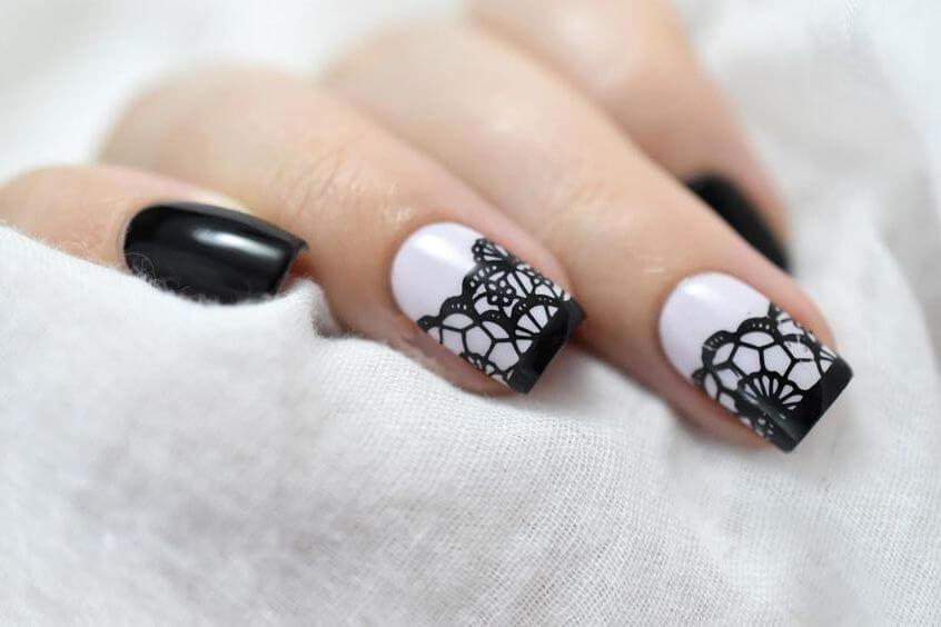 Ажурный на длинные ногти - свадебный маникюр