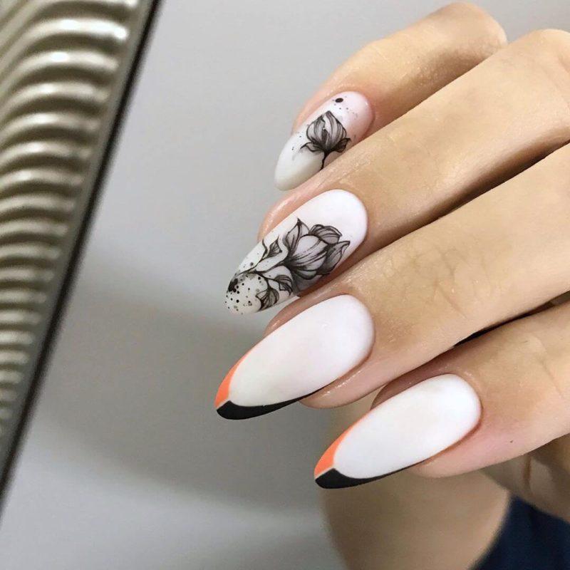 Акварельная роспись на длинные ногти френч