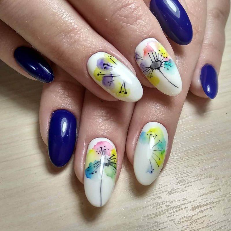 Акварельная роспись с одуванчиками на длинные ногти