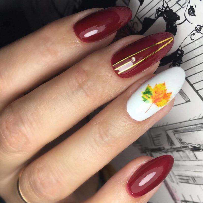 """Акварельная роспись """"осенний маникюр"""" на длинные ногти"""