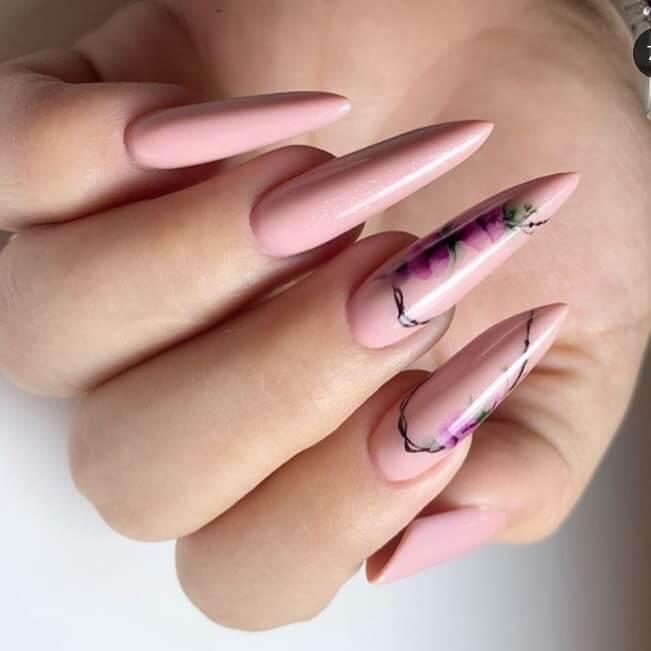 Акварельная роспись на длинные ногти
