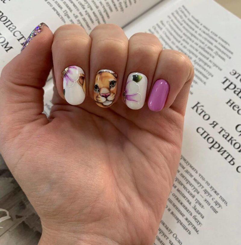 Акварельная роспись с котенком на короткие ногти