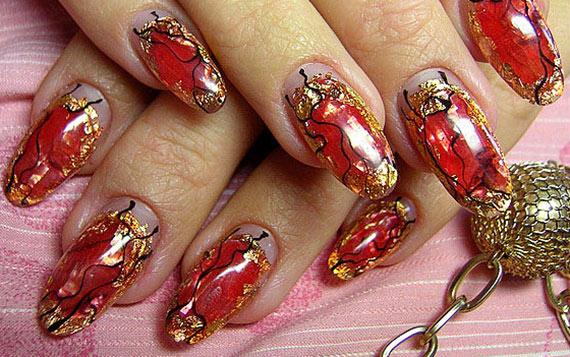 Красный дизайн ногтей фото