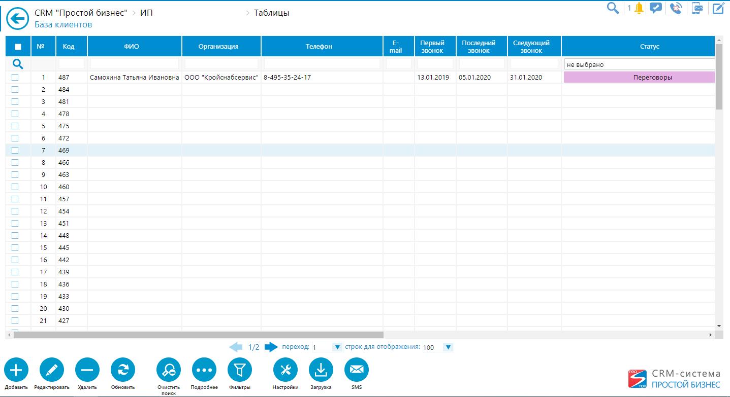 База данных онлайн-CRM «Простой бизнес»
