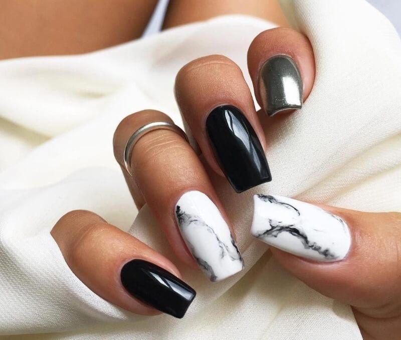 Черно-серебряные ногти