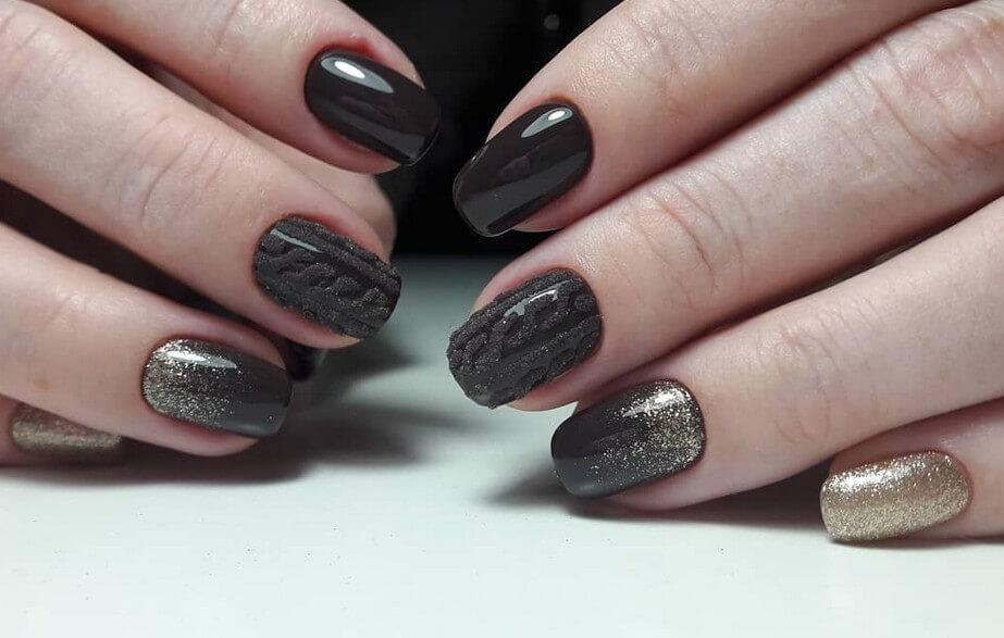 Черные блестки с вязаным дизайном