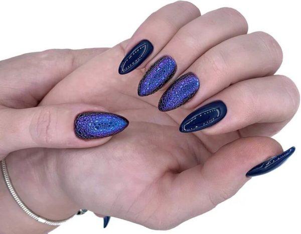 Сине-фиолетовый пузырьковый маникюр на длинные ногти