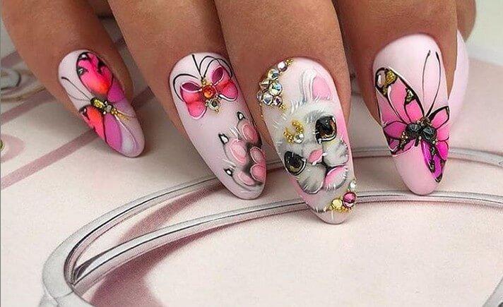 Дизайн ногтей кот и бабочка