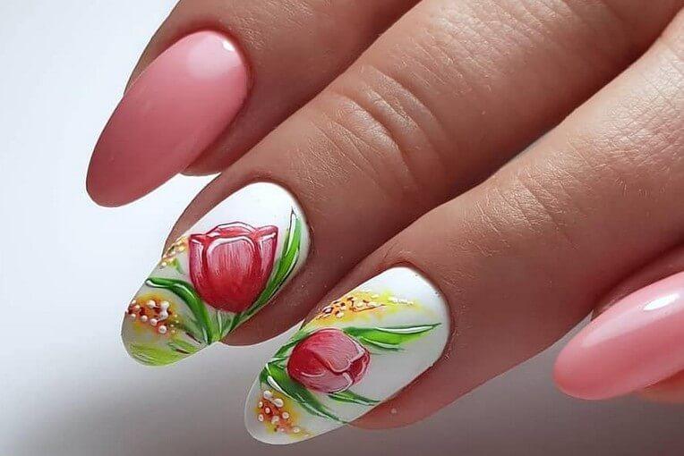 Дизайн ногтей с тюльпанами