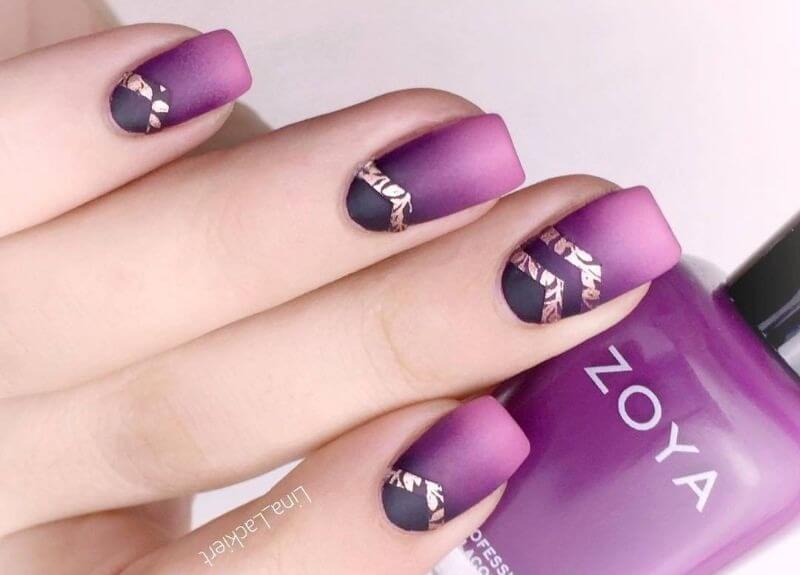 Фиолетовый градиент на короткие ногти