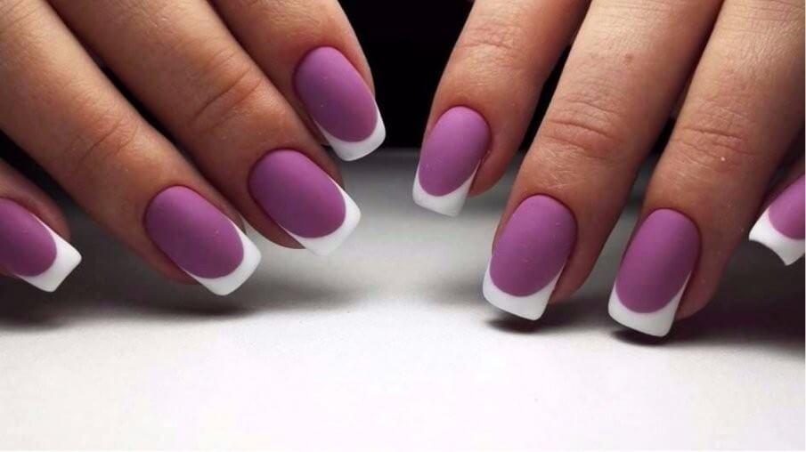 Фиолетовый френч весенний дизайн