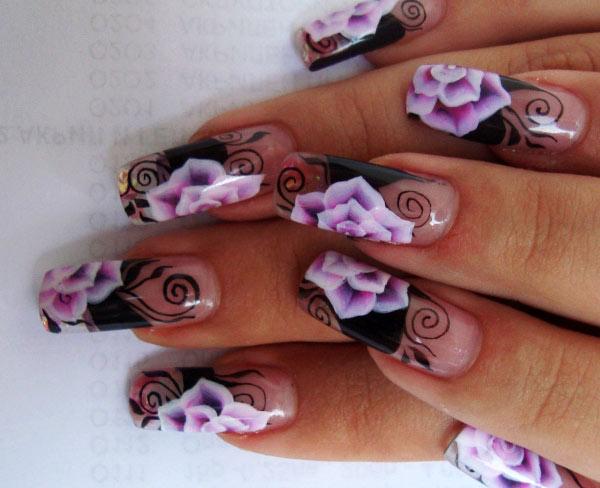 Фото нарощенных ногтей с 3D дизайном
