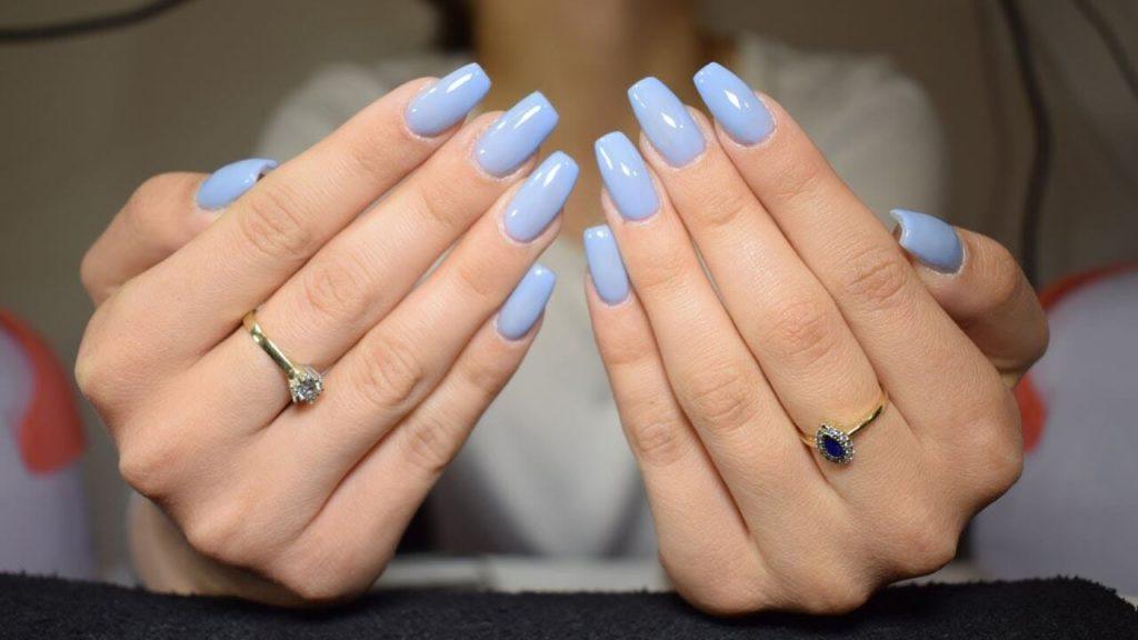 Свадебный нейл дизайн в голубых тонах