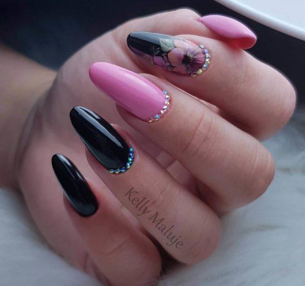 Жостовская роспись для длинных ногтей