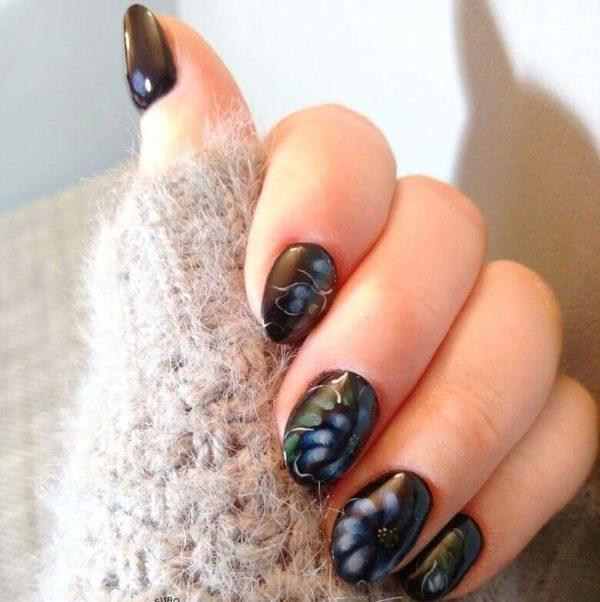 Жостовская роспись на короткие ногти