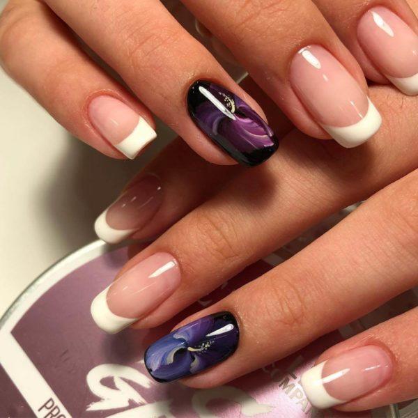 Жостовская роспись на короткие ногти френч