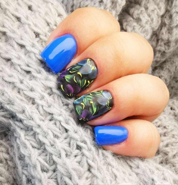 Жостовская роспись синим