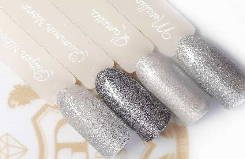 Разные оттенки серебряного маникюра