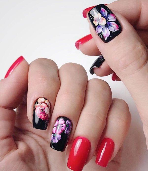 Идея классической жостовской росписи ногтей