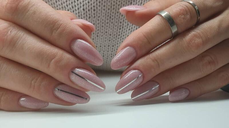 Нейл-арт с серебром на длинные ногти