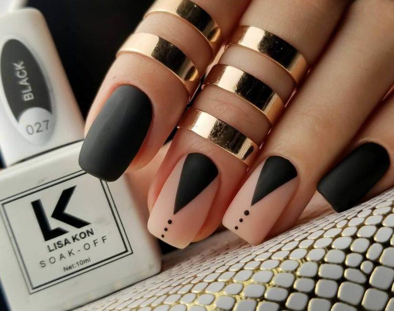 Геометрические узоры на коротких ногтях