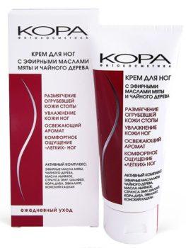 Крем для ног с эфирными маслами мяты и чайного дерева Kora