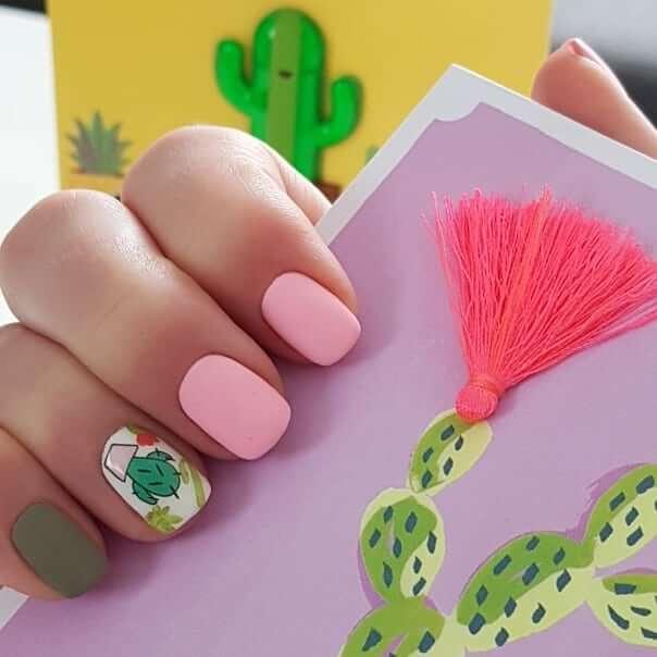 Короткие ногти с рисунком кактус