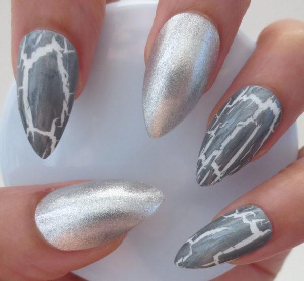 Кракелюр на длинные ногти