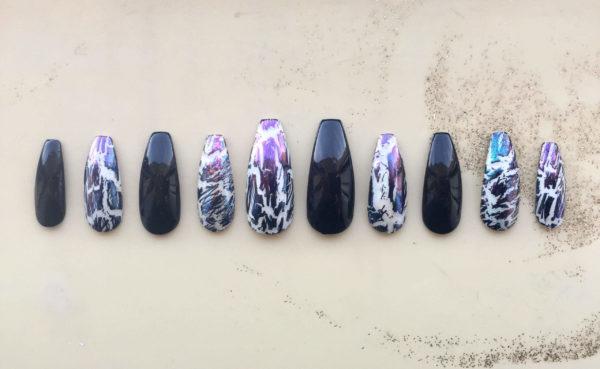 Фиолетово-черный кракелюр на длинные ногти