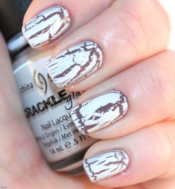 белый кракелюр на короткие ногти