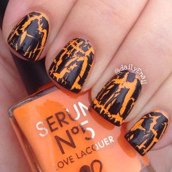 Оранжевый кракелюр на длинные ногти