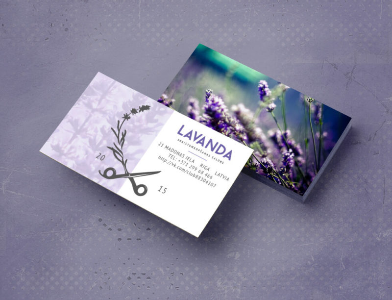 Образец визитки салона Lavanda