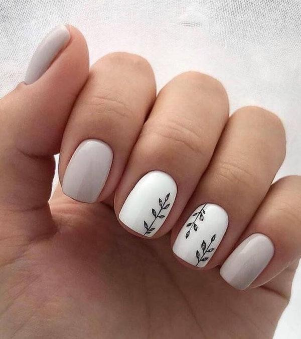 Маникюр на короткие ногти с рисунком