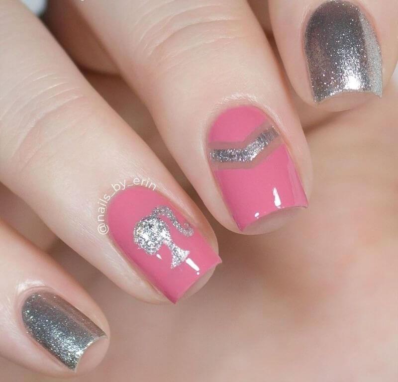 Розово-серебряный маникюр