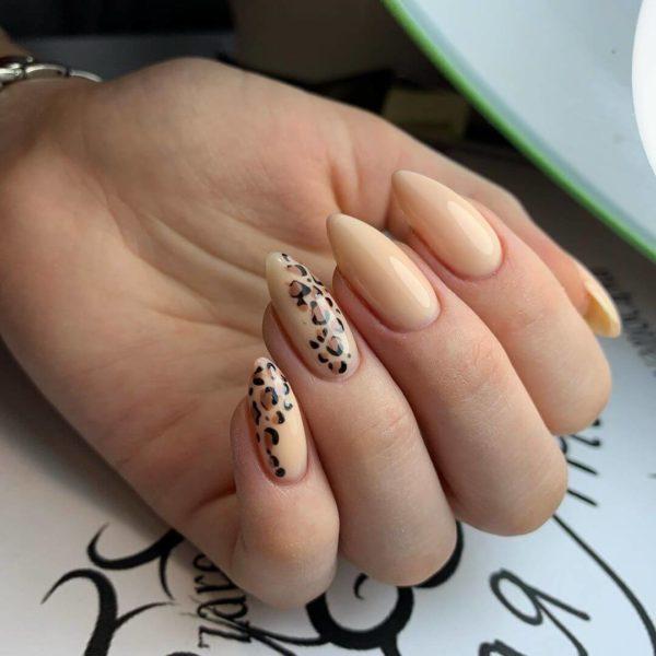 Леопардовый маникюр с рисунком